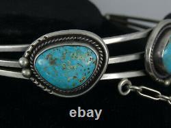 Vintage 50's Navajo Gem Kingman Turquoise Pendant Choker Sterling Necklace 14