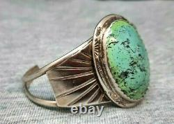 Vintage Bleu Domed Vert Turquoise Vintage Bracelet En Argent Navajo