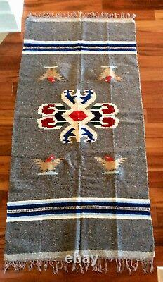 Vintage Native American Navajo Style Ou Mexicain Couverture De Laine Rug / Serape Poncho