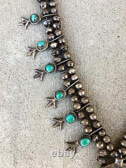 Vintage Navajo Argent Sterling Turquoise Collier De Perles À La Main Squash Blossom