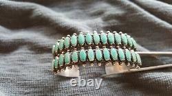 Vintage Navajo Fred Harvey Era Sterling Silver Stamped Cuff Bracelet Green Stone