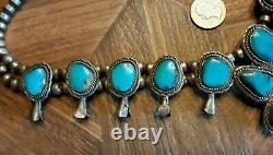 Vintage Navajo Inde Squash Blossom Collier Turquoise Sterling Argent Big 170g