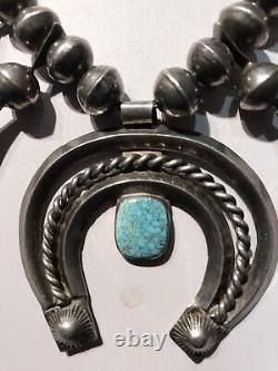 Vintage Navajo Indien Squash Blossom & Spiderweb Turquoise Naja Collier