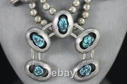 Vintage Navajo Sterling Gem Grade Bisbee Turquoise Squash Blossom Collier Années 1950