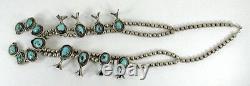 Vintage Navajo Sterling Gem Grade Sleeping Beauty Turquoise Squash Blossom Années 1950