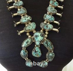 Vintage Navajo Sterling Silver & Blue Diamond Turquoise Squash Blossom Collier