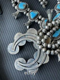 Vintage Navajo Turquoise Serling Silver Squash Blossom Nocklace Avec C1960