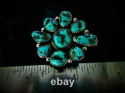 Vintage Old Pawn Navajo 925 Silver Sterling Super Blue Turquoise Flower Ring 8