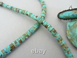 Vintage Pinto Boulder Royston Turquoise Heishi 23.75 Long Navajo Collier De Perles