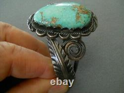 Vintage Southwestern Native American Navajo Turquoise Bracelet En Argent Sterling