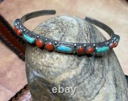 Vintage Sterling Argent Cuff Braceletturquoise Coral Stones Native American