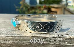 Vintage Sterling Turquoise Cuff Bracelet Hallmarked