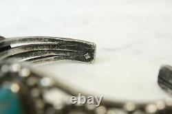 Vintage Vieux Navajo 5 Pierre Turquoise Sterling Bracelet De Cuff En Argent
