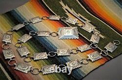Vtg. Argent Sterling Massif Native American Navajo Stamped Concho Belt Collier