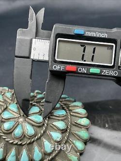 Vtg Énorme 91g Vieux Pawn Navajo Cluster Turquoise Sterling Bracelet De Cuff En Argent