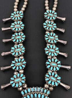 Vtg Navajo Petit Point Cluster Bleu Turquoise Squash Sterling Collier Blossom