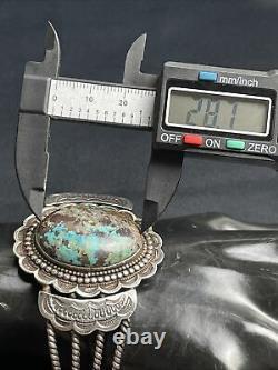 Vtg Vieux Pawn Navajo Détaillé Turquoise Sterling Bracelet En Argent Cuff 48g