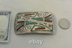 William Singer Navajo Belt Bucckle Argent Sterling Turquoise & Corail Tommy's Bro